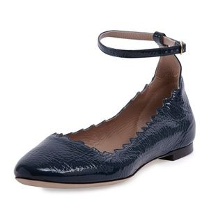 Chloe Lauren Scalloped Patent Ballet Flats Size 11